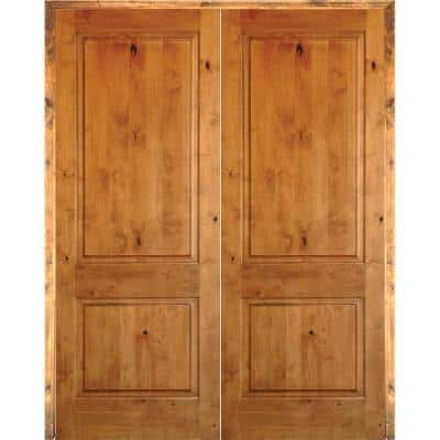 48 in. x 80 in. Rustic Knotty Alder 2-Panel Square Top Both Active Solid Core Wood Double Prehung Interior French Door