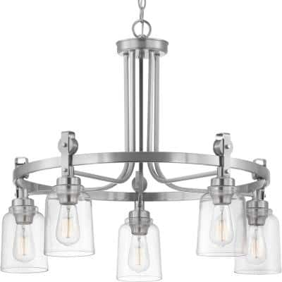 Knollwood 5-Light Brushed Nickel Chandelier with Clear Glass Shades