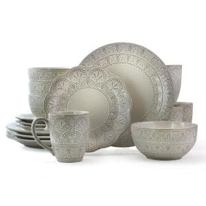 16-Piece Modern White Lace Stoneware Dinnerware Set (Service for 4)