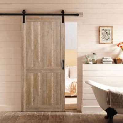 36 in. x 84 in. 2 Panel Plank Sandy Brown Interior Sliding Barn Door Slab with Hardware Kit