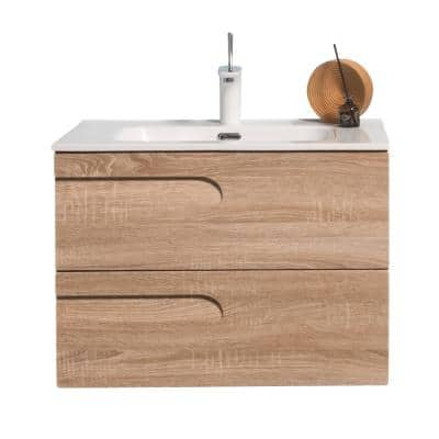 Joy 28 in. W x 18.25 in. D x 20.5 in. H Integrated Porcelain Bathroom Vanity in Maple with White Top