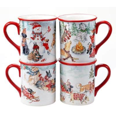 16 oz. Special Delivery Multicolored Earthenware Mugs (Set of 4)