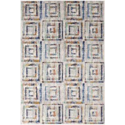 Weathered Squares Multi 8 ft. x 11 ft. Geometric Area Rug