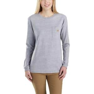 Carhartt Women S Small Heather Gray Cotton Polyester Workwear Pocket Long Sleeve T Shirt 103244 034 The Home Depot