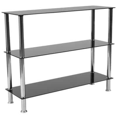 31.5 in. Black Top/Stainless Steel Metal 3-shelf Standard Bookcase with Open Back