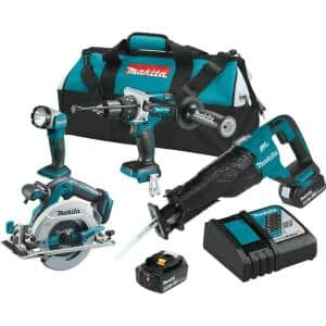 18-Volt LXT Lithium-Ion Brushless Cordless Combo Kit (4-Piece) Hammer Drill/Recip Saw/Circ Saw/Light w/(2)Batteries(5Ah)