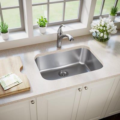 Undermount Stainless Steel 27 in. Single Bowl Kitchen Sink