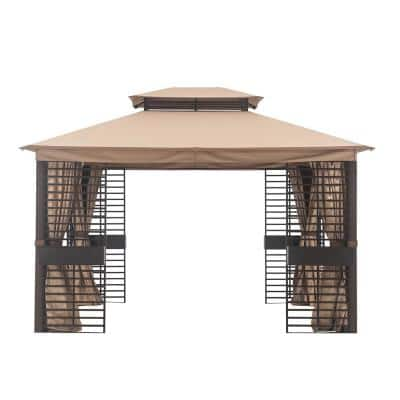 Contempo 11 ft. x 13 ft. Gazebo with Beige Canopy and Planters