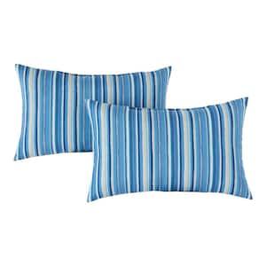 Sapphire Stripe Lumbar Outdoor Throw Pillow (2-Pack)