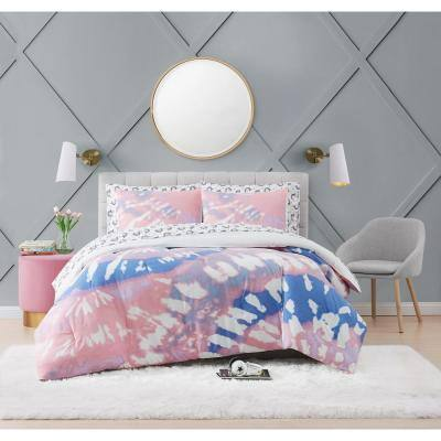 7-Piece Tie Dye Party Lavender Queen Microfiber Bed in a Bag