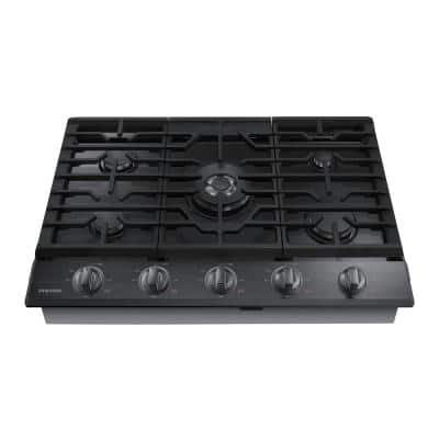 30 in. Gas Cooktop in Fingerprint Resistant Black Stainless with 5 Burners including Power Burner with Wi-Fi