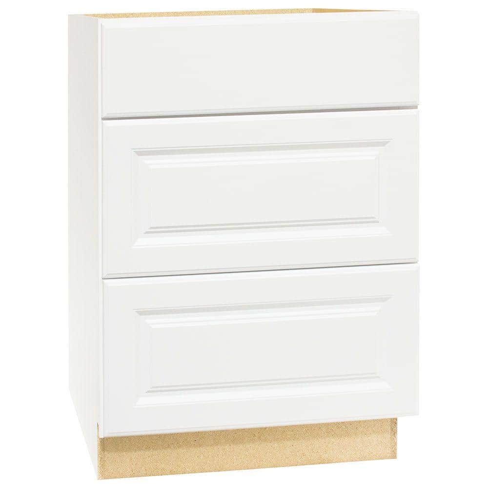 Hampton Bay Hampton Satin White Raised Panel Assembled Drawer Base Kitchen Cabinet With Drawer Glides 24 In X 34 5 In X 24 In Kdb24 Sw The Home Depot