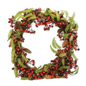 24 in. Unlit Red and Black Berry and Pine Cone Artificial Christmas Wreath