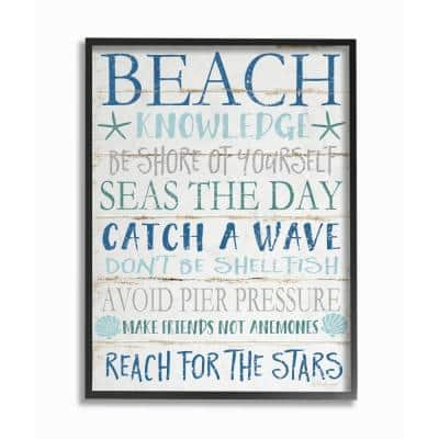 """16 in. x 20 in. """"Beach Knowledge Blue Aqua and White Planked Look Sign Oversized Black Framed Wall Art"""" by Jennifer Pugh"""