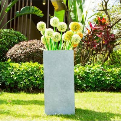 28 in. Tall Slate Gray Lightweight Concrete Rectangle Modern Outdoor Planter