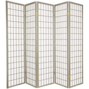 6 ft. Grey Window Pane 5-Panel Room Divider