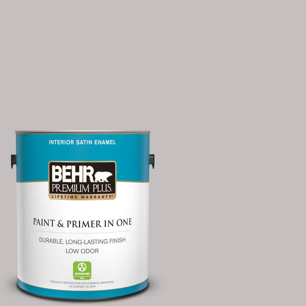 Behr Premium Plus 1 Gal Ppu18 10 Natural Gray Satin Enamel Low Odor Interior Paint And Primer In One 705001 The Home Depot