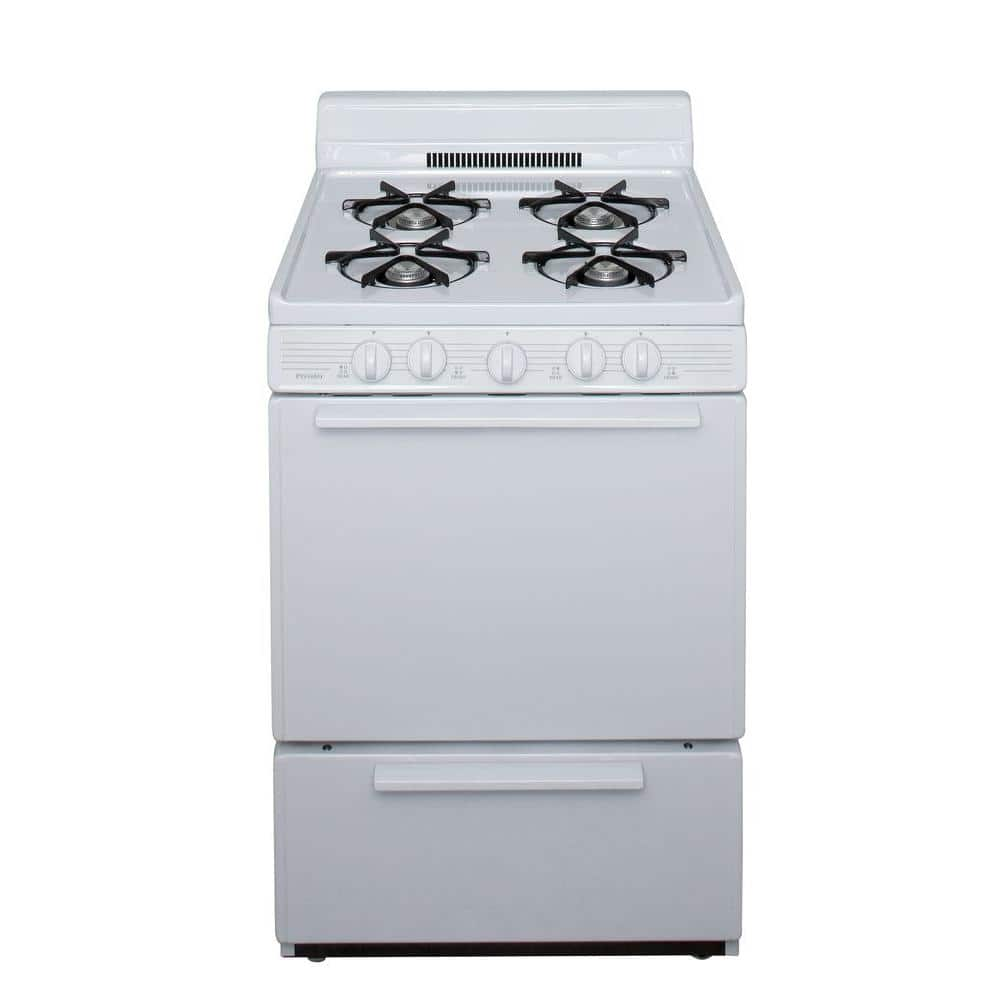 Premier 24 In 2 97 Cu Ft Battery Spark Ignition Gas Range In White Bck100op The Home Depot