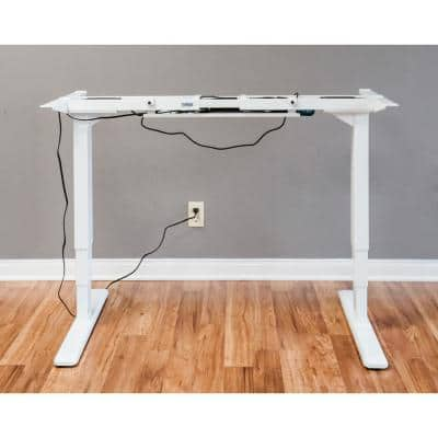White Electric Height Adjustable Desk Frame w/Dual Motor, Tabletop Not Included, 50 Inch Max Height