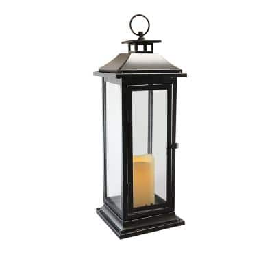 6 in. x 17 in. Black Traditional Metal Lantern with LED Candle