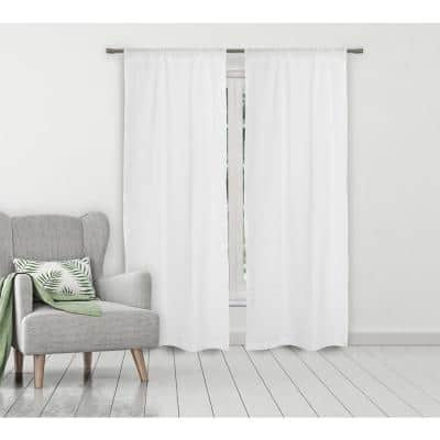 White Solid Rod Pocket Room Darkening Curtain - 40 in. W x 84 in. L (Set of 2)