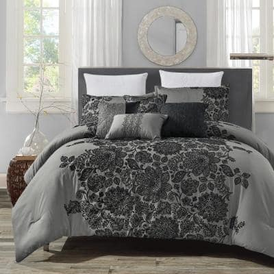 7-Piece Gray Embroidered Polyester Queen Bedding Comforter Set