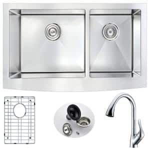Anzzi Elysian Farmhouse Stainless Steel 32 In 0 Hole Single Bowl Kitchen Sink With Soave Faucet In Brushed Satin K33201a 032 The Home Depot