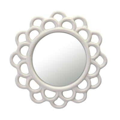 9 in. x 9 in. Decorative Round Ivory White Cutout Ceramic Wall Hanging Mirror