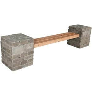 RumbleStone 100 in. x 24.5 in. x 21 in. Concrete Garden Bench Kit in Greystone