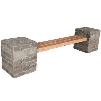 RumbleStone 100 in. x 24.5 in. x 21 in. Concrete Garden Bench Kit in Greystone