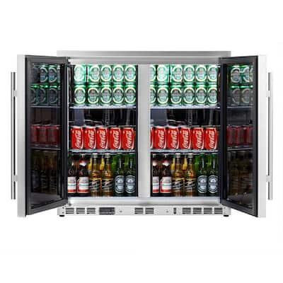 Single Zone 35.4 in. 169 (12 oz.) 2-Door Solid Stainless Steel Beverage Can Cooler
