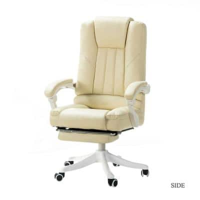 Bella Ivory Faux Leather Swivel Gaming Chair with Arms