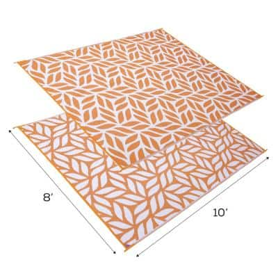 Abstract Leaf Reversible Mat Orange/White 8' x 10' Virgin Polypropylene Mat with UV Protection