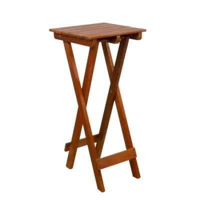 26 in. Light Brown Acacia Wood Outdoor Folding Accent Table