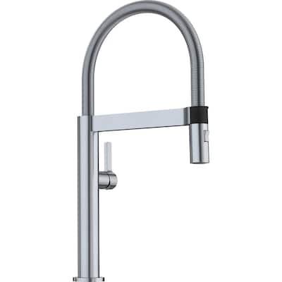CULINA MINI Semi-Pro Single-Handle Pull-Down Sprayer Kitchen Faucet in Satin Nickel