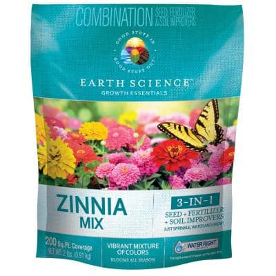 2 lbs. Zinnia All-In-One Wild Flower Mix with Seed, Plant Food and Soil Conditioners
