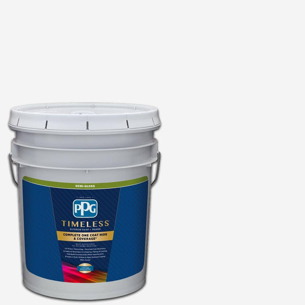Ppg Timeless 5 Gal Pure White Base 1 Semi Gloss Exterior Paint With Primer Ppg73 510 05 The Home Depot
