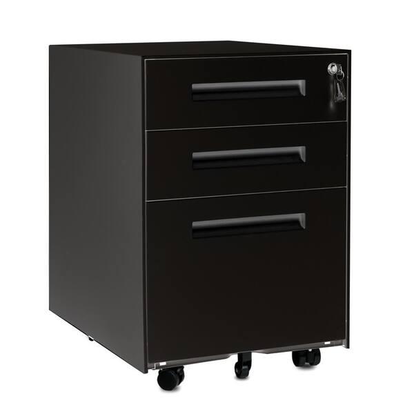 Boyel Living 3 Drawer Black Mobile, Storage Cabinets With Lock