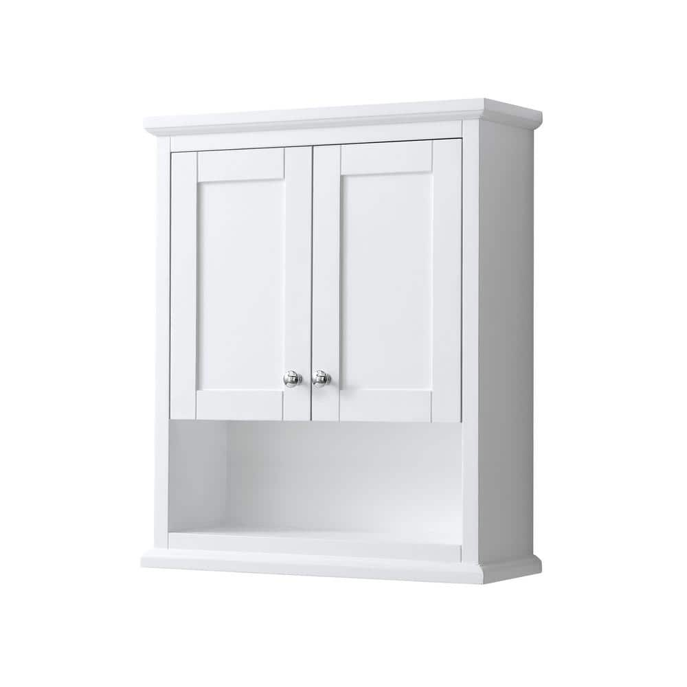 Wyndham Collection Avery 25 In W Bathroom Storage Wall Cabinet In White Wcv2323wcwh The Home Depot
