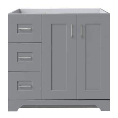 Hawthorne 36 in. W x 21-3/4 in. D Vanity Cabinet in Twilight Gray with Left Hand Side Drawers