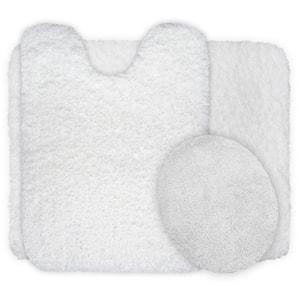 3-Piece 19.5 in. x 24 in. White Super Plush Non-Slip Bath Mat Set