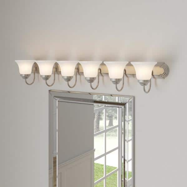 Progress Lighting 6 Light Brushed Nickel Alabaster Glass Traditional Bath Vanity Light P3056 09 The Home Depot