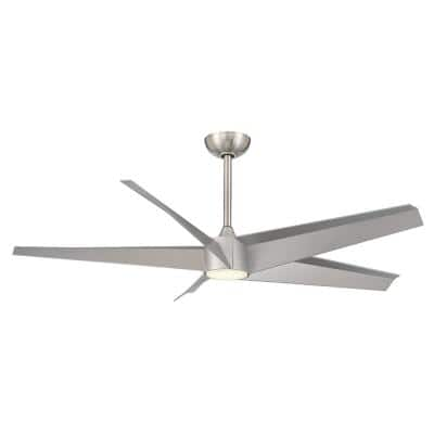 Urbain 56 in. Integrated LED Indoor Brushed Nickel Ceiling Fan with Light Kit