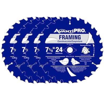 7-1/4 in. x 24-Teeth Framing Saw Blade (4-Pack)
