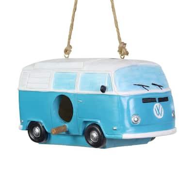 Vintage Blue Van Hanging Resin Birdhouse