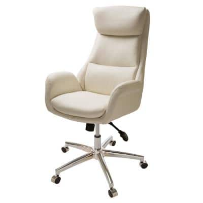 27.4 in. Width Big and Tall Cream Leather Executive Chair with Adjustable Height