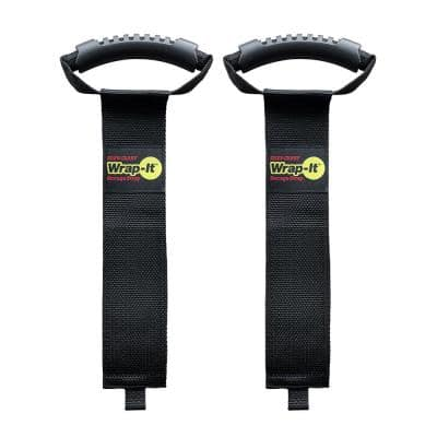28 in. Easy-Carry Storage Strap Heavy-Duty Hoop and Loop Hose Carrying Strap with Handle in Black (2-Pack)