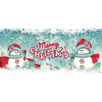 7 ft. x 16 ft. Snowman Merry Christmas-Outdoor Christmas Holiday Garage Door Banner Decor