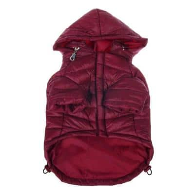 X-Small Burgundy Red Lightweight Adjustable Sporty Avalanche Dog Coat with Removable Pop Out Collared Hood