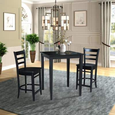 3 PC Set - Black Solid Wood 30 in. Square Table with 2 Side Stools